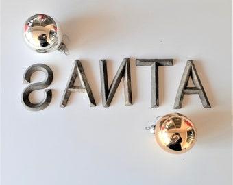 SANTA Vintage Metal Letter Christmas Letters Rustic Farmhouse Primtive