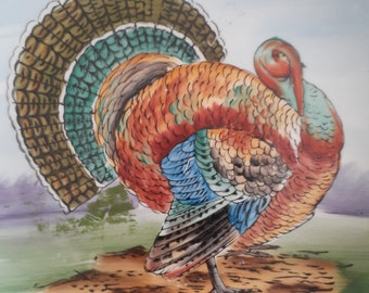 Vintage Turkey Plate Thanksgiving Bright Colors Autumn Fall Wall Hanging Decor