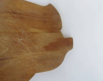 Vintage Pig Cutting Board Wood Large