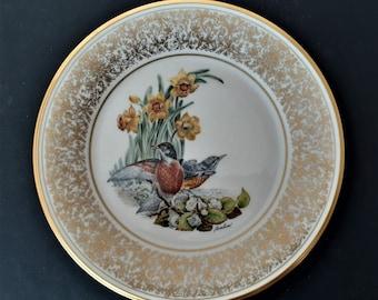 Gold Trim Robin Floral Plate Flowers Lenox Boehn Birds Plate Vintage Wall Hanging Decoration