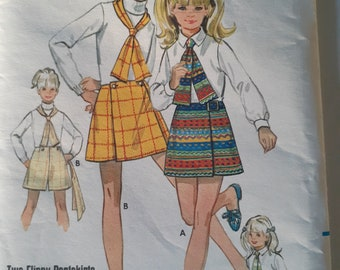 Girls Uncut A Line Pantskirt Vintage Sewing Pattern Butterick 5454