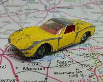 Vintage Matchbox Series No 33 Yellow and Red Lamborghini Miura 1960s