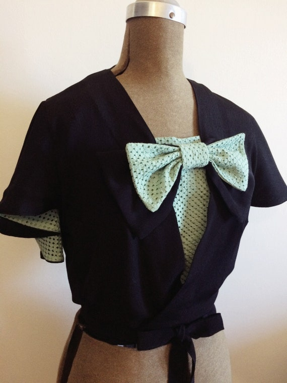 Vintage & Retro Shirts, Halter Tops, Blouses Custom Ruby Wrap Blouse 1930s $132.32 AT vintagedancer.com