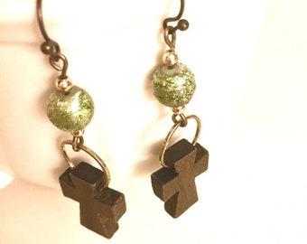 SALE - Earrings - Wooden Cross Dangles with Green Foil Style Beads - Bronze - Boho