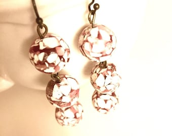 SALE - Earrings - Dangle - Dark Red and White Mosaic Stone Beads - Antique Bronze