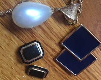 Vintage - Lot 0f 3 Pieces of Vintage Costume Jewelry - Necklace - Brooch - Clip On Earrings
