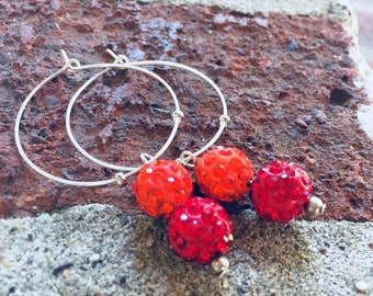 SALE - Earrings - Silver Tone Hoops with Dangling Rhinestone Beads - Summery Red and Orange - Bling