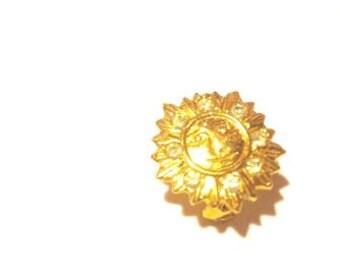 ONE DOLLAR SALE - Vintage - Golden Sunshine Brooch with Rhinestones