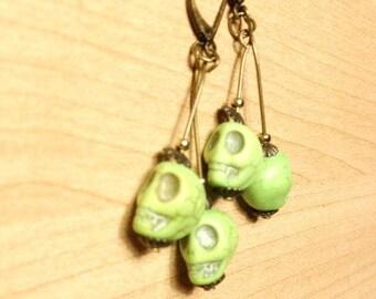 ONE DOLLAR SALE - Earrings - Lime Green Skulls on Antique Bronze
