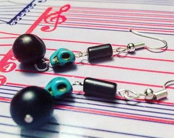 """Earrings - Dangle - Black and Turquoise Skull Earrings - """"I Need Your Skull"""""""