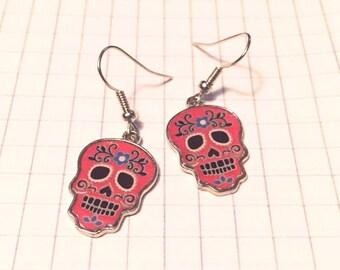 SALE - Earrings - Sugar Skull Earrings - Metal - Silver - Choose your color