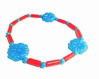Bracelet - Beaded - Aqua Blue Czech Glass Flower Beads - Coral Red Tube Beads - Little Blue Turquoise Beads - Stretchy