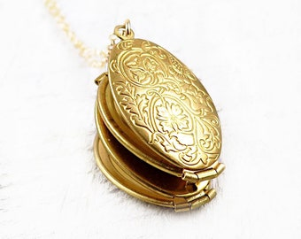 Family Tree Folding Locket Necklace in Gold