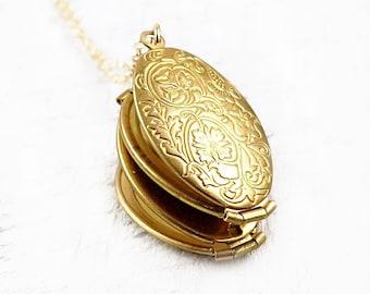 Four Photo Locket Necklace, Mother's Day Locket, 4 Photo Locket Pendant, Flower Locket, Gold Locket, Oval Locket, 4 Way Locket