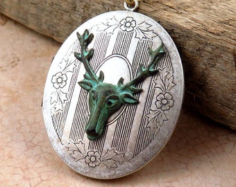 Verdigris Deer Locket Necklace on Long White Beaded Chain