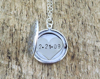 Personalized Bridesmaid Jewelry, Custom Wedding Date Necklace, Silver Locket Necklace, Anniversary Date, Heart Necklace, Gift for Bride