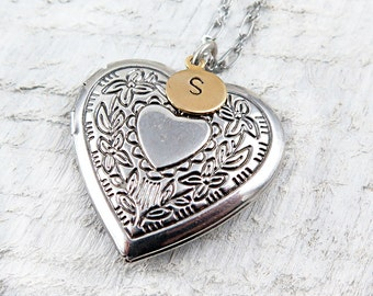 Personalized Heart Locket Necklace with Hand Stamped Initial, Mothers Day Gift for Her, Anniversary Gift, Wedding Gift