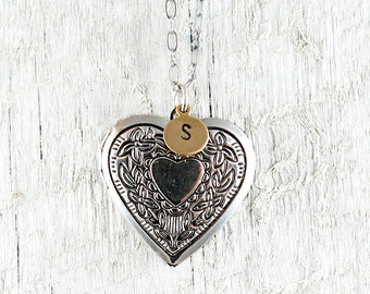 Silver Heart Locket Necklace with Personalized Handstamped Initial