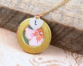 Vintage Flower Wallpaper Locket Necklace