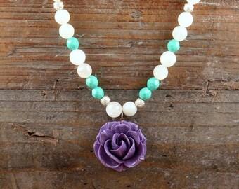 Purple Flower and Moonstone Gemstone Necklace