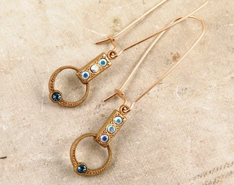 Art Deco Rhinestone Earrings with Aqua and AB Swarovski Crystals
