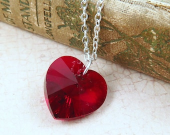 Red Heart Necklace, Crystal Heart Necklace, Valentine's Day Gift, Swarovski Heart, Red Valentine Heart, Gift for Her