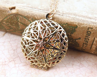 Gold Floral Filigree Locket on Gold Filled Chain