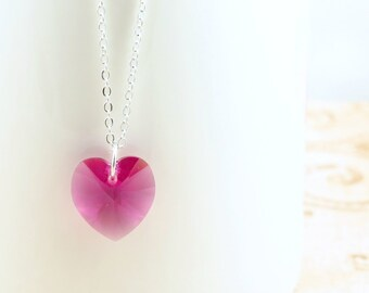 Pink Heart Necklace, Crystal Necklace, Valentine's Day Jewelry, Swarovski Heart, Pink Valentine Heart, Gift for Her