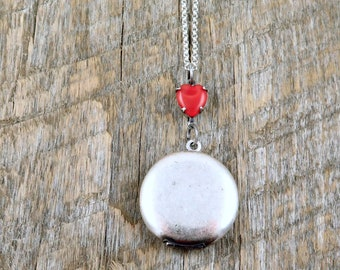 Valentine Silver Locket with Red Moonstone Heart Accent