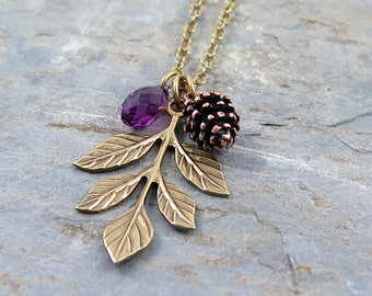 Amethyst Necklace, Leaf Necklace, Pinecone Necklace, Pine Cone Necklace, Crystal Necklace, February Birthstone