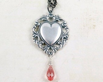 Victorian Lace Heart Necklace with Rose Briolette