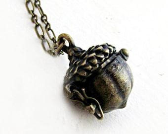 Acorn Locket Prayer Box Necklace