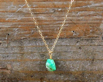 Raw Chrysoprase Necklace on Gold Filled Chain