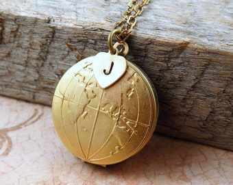 Globe Locket Necklace, Eastern and Western Hemisphere Jewelry, World Map