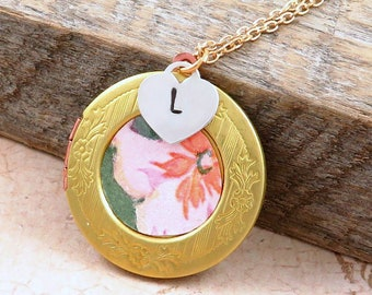 Personalized Jewelry, Flower Locket Necklace, Vintage Locket, Flower Jewelry, Vintage Wallpaper, Gift for Mom