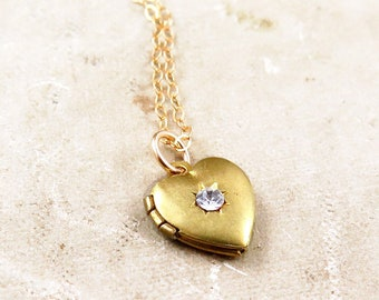 Vintage Starburst Heart Locket on Gold Filled Chain
