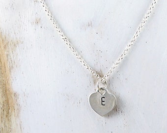 Initial Heart Necklace, Personalized Sterling Silver Tiffany Style Pendant