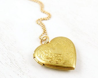 Floral Gold Heart Locket Necklace on Beaded Chain