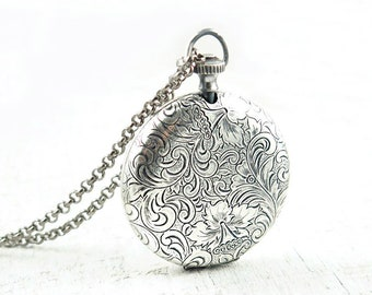 Large Antiqued Silver Pocket Watch Locket Necklace