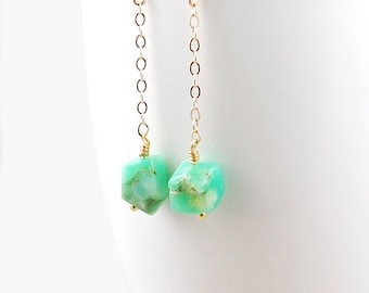 Chrysoprase Dangle Earrings with Gold Chain