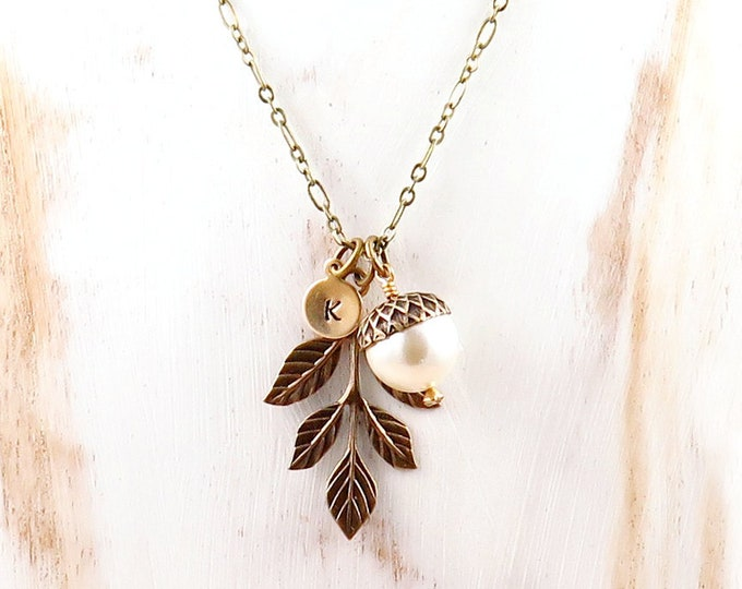 Featured listing image: Acorn Necklace, Leaf Necklace, Personalized Necklace, Initial Jewelry, Pearl Acorn, Fall Jewelry, Fall Gift, Initial Necklace