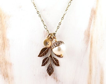 Personalized Acorn Necklace for Winter Wedding