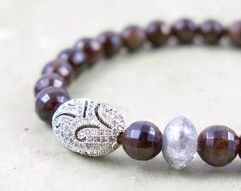 Red Garnet and Pave Crystal Beaded Bracelet