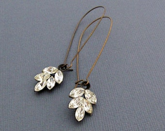Rhinestone Leaf Earrings Vintage Wedding Jewelry
