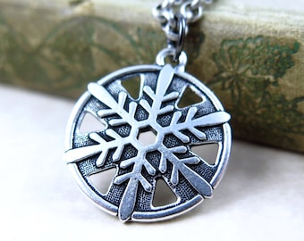 Silver Snowflake Necklace, Snowflake Pendant, Snow Flake Jewelry, Antiqued Silver Pendant, Winter Jewelry