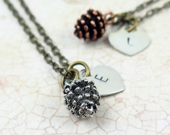 Pine Cone and Heart Necklace with Personalized Initial