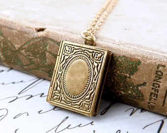 Book Lover Gift, Book Necklace, Book Locket Necklace, Graduation Gift, Gift for Teacher, Gift Book Pendant