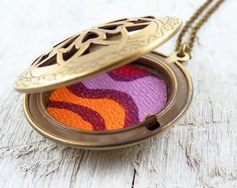 Floral Locket Necklace, Vintage Wallpaper Print, Orange and Purple, Filigree Locket, Locket Pendant, Gift for Her