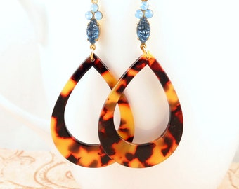 Large Tortoise Shell Teardrop Earrings with Vintage Camphor Glass