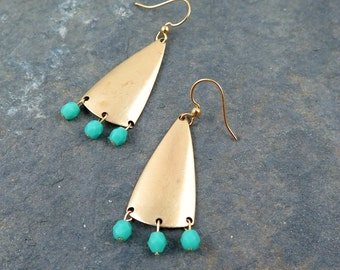 Triangle Earrings, Geometric Jewelry, Gold Triangle Earrings, Turquoise Beaded Jewelry